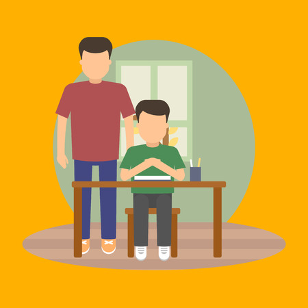 child sitting: Vector image of a pupil sitting at the desk in a school at the g lesson.