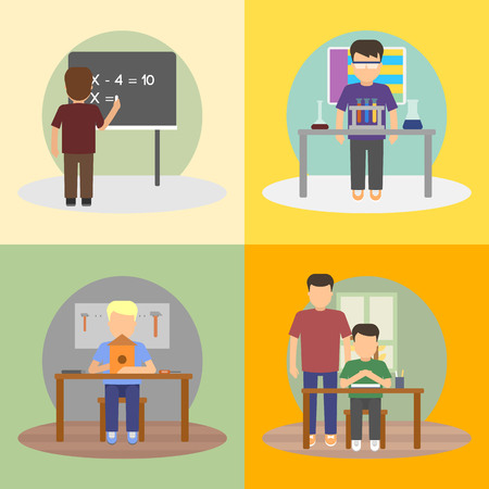 child sitting: A set of vector images of schoolboy daily activities