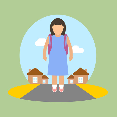 child sitting: Vector image of girl going to school.