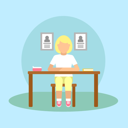 child sitting: Vector image of a pupil sitting at the desk in a school at the geography lesson.