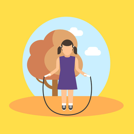 child sitting: Vector image of a school girl at the physical education lesson.