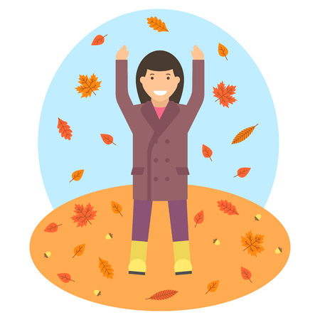 Fallen leaves in autumn season vector image. Woman is throwing up the autumn leaves.