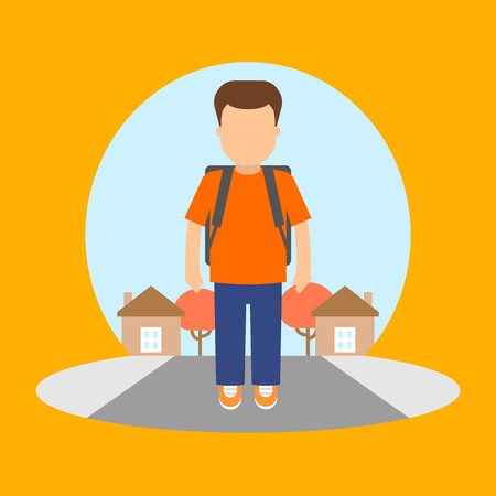child sitting: Vector image of a boy going to school.