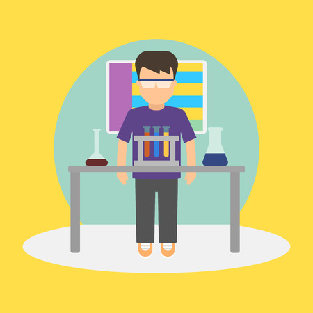 child sitting: Vector image of a pupil sitting at the desk in a school at the chemistry lesson.
