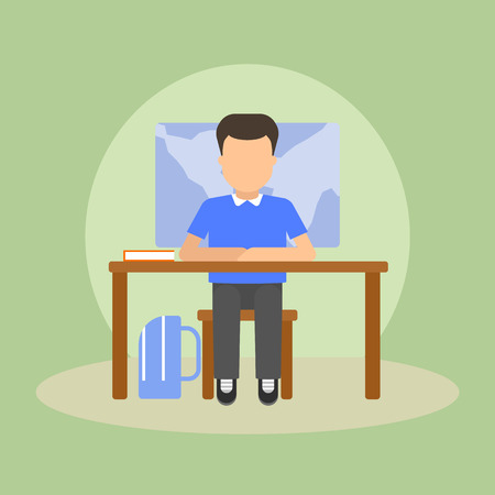 child sitting: Vector image of a pupil sitting at the desk in a school at the lesson.