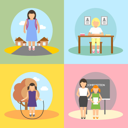 child sitting: A set of vector images of schoolgirl daily activities