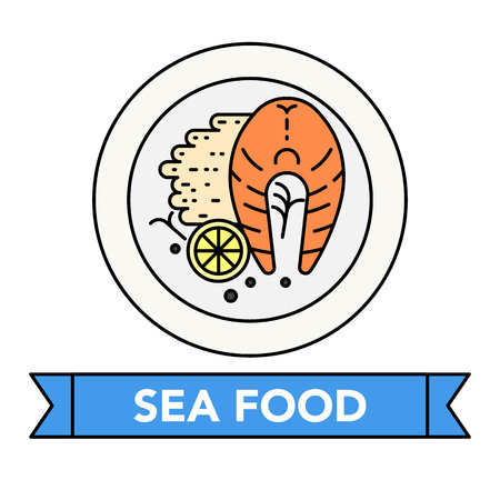 Seafood delicious cuisine with lettering on a ribbon