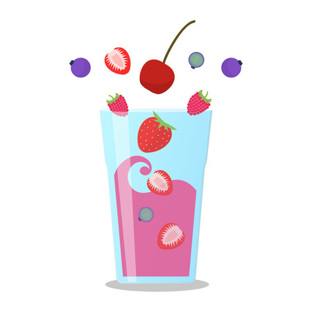 Berries mix smoothie vector illustration. Smoothie in a jug and a glass with a straw Wellness and healthy lifestyle.