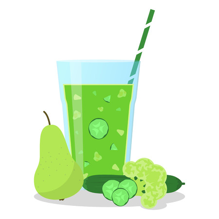Vector illustration of green smoothie with cucumber, pear and broccoli. Wellness and healthy lifestyle.