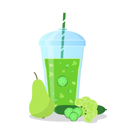 pulp: Vector illustration of green smoothie with cucumber, pear and broccoli. Wellness and healthy lifestyle.