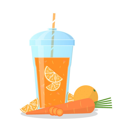 pulp: Vector illustration of an orange smoothie with carrot and orange taste. Wellness and healthy lifestyle.