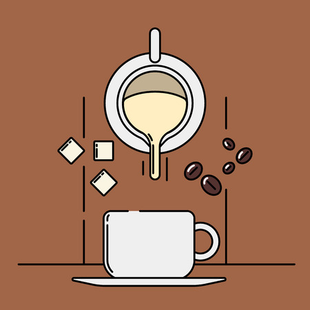 Vector illustration of a coffee cup, milk or cream, sugar and cocoa beans on colored background. Coffee production and consumption topic.