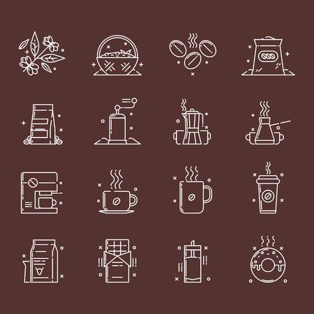 Ensemble d'icônes vectorielles de la production de café et de l'utilisation qui comprend la collecte des grains de café, les trier, le stockage et l'utilisation, également l'utilisation d'un café en grains pour le chocolat, milk-shakes et comme glaçage.