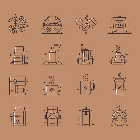 Vector icons set of the coffee production and use that includes gathering of coffee beans, sorting them out, storage and use, also usage of a coffee beans for chocolate, milk shakes and as a glaze.
