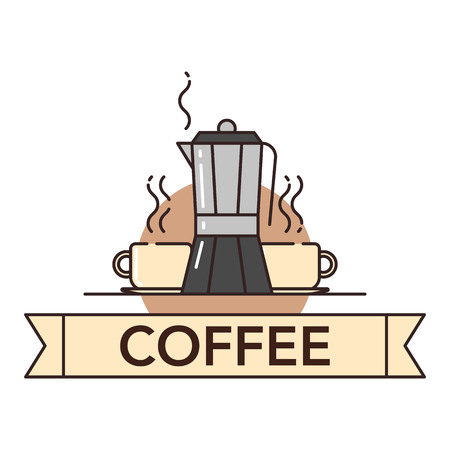 Vector illustration of a cup of hot coffee and coffeepot on white background with lettering. Coffee production and consumption topic. Illustration