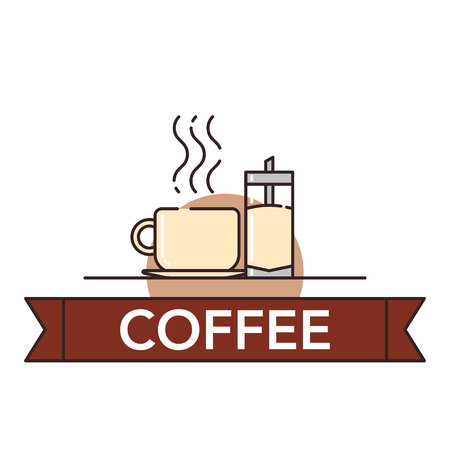 Vector illustration of a cup of hot coffee and sugarbowl on white background with lettering. Coffee production and consumption topic.