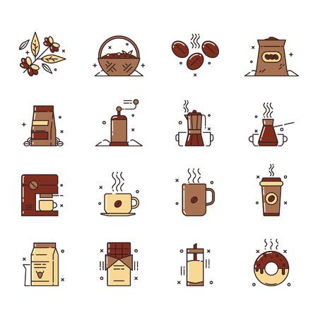 Ensemble d'icônes vectorielles de la production de café et de l'utilisation qui comprend la collecte des grains de café, les trier, le stockage et l'utilisation, également l'utilisation d'un café en grains pour le chocolat, milk-shakes et comme glaçage. Banque d'images - 87349796