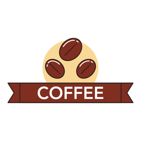 Ilustration of roasted cocoa berries on white background with lettering. Coffee production and consumption topic. Illustration