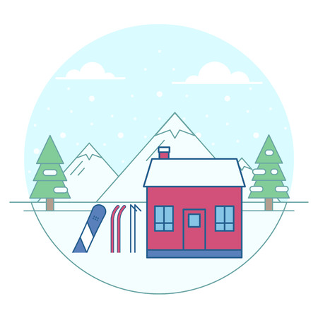 Vector illustration of mountain chalet on snowy fir trees and mountains background. Winter activities and recreation topic.
