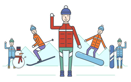 Vector illustration of the winter mountain kinds of sport activity on mountains background. Winter activities and recreation topic.