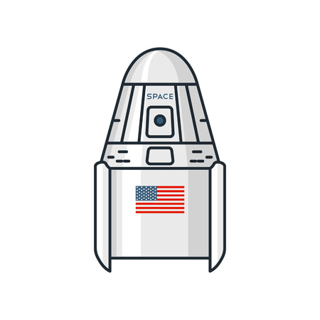 configurations: Vector illustration of spacecraft modules on white background. Space topic.