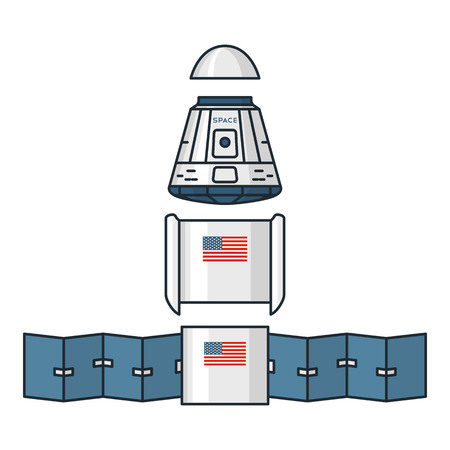 habitable: Vector illustration of spacecraft modules on white background. Space topic.