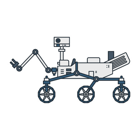 Vector illustration of a moon walker robot on white background. Space topic.