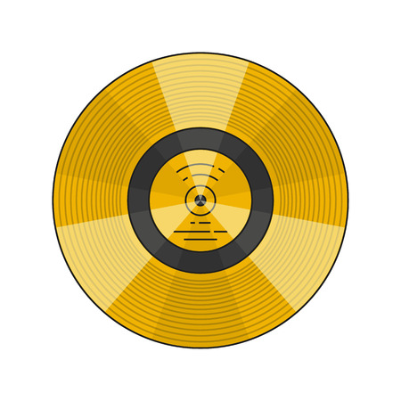 Vector illustration of the voyager golden record with explanation on white background. Space and solar system topic. Zdjęcie Seryjne - 87434968