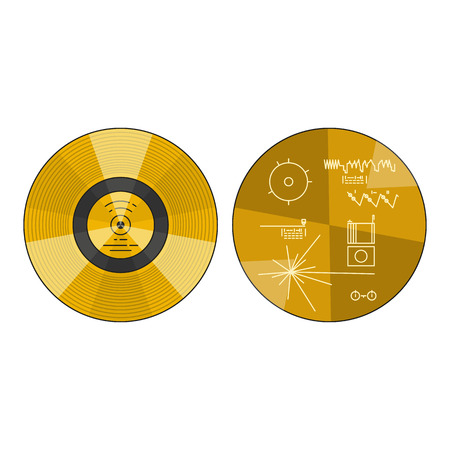 Vector illustration of the voyager golden record with explanation on white background. Space and solar system topic.