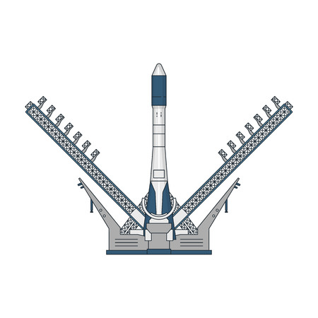 configurations: Vector illustration of a space shuttle launching on white background. Space topic.