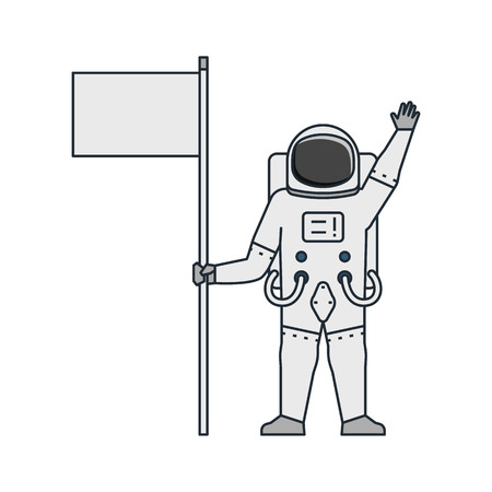 Vector illustration of an astronaut holding a white flag in spacesuit on white background. Space topic.