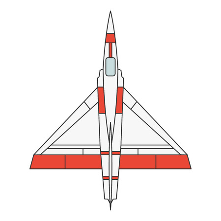 Vector illustration of a military airplane model on white background. Aircraft topic.