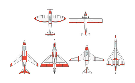 Vector illustrations set of airplane models on white background. Aircraft topic.