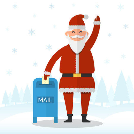 Santa Claus is waving with his hand and putting the letter into a post box on snowflakes and forest background vector illustration. Christmas and New Year celebration topic.