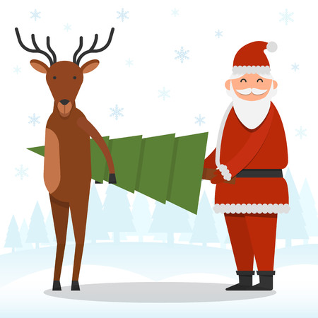 Santa Claus and reindeer are holding a firtree on snowflakes and forest background vector illustration. Christmas and New Year celebration topic. Illustration