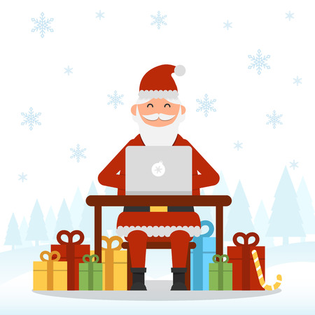 Answering on childrens requests via laptop Santa Clause with Christmas and New Year gifts and presents around vector illustration. Christmas and New Year celebration topic.