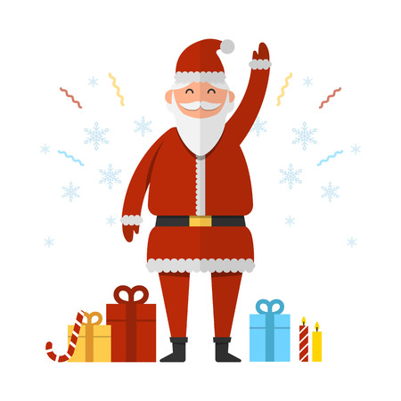 Santa Claus with Christmas and New Year presents and gifts waving with his hands vector illustration. Christmas and New Year celebration topic.