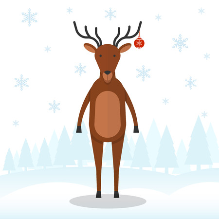 Santa s reindeer on snowflakes and forest background. Santas assistant. Christmas and New Year celebration topic.