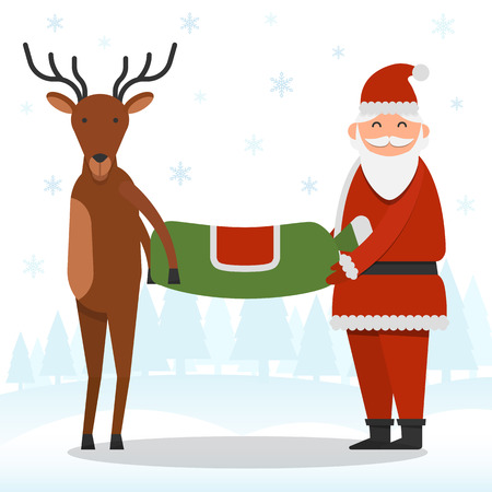 Santa Claus and reindeer are holding a bag of presents on snowflakes and forest background vector illustration. Christmas and New Year celebration topic.