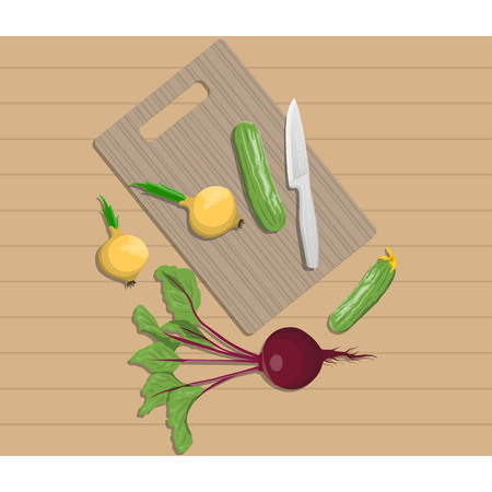 Vector illustration of vegetables chopping on a cutting board on white background. Kitchen and food preparation topic. Illustration