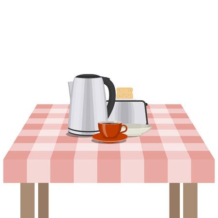 utensilios de cocina: Ilustración de vector de utensilios de cocina y utensilios en la mesa. Cocina y comida preparando el tema.