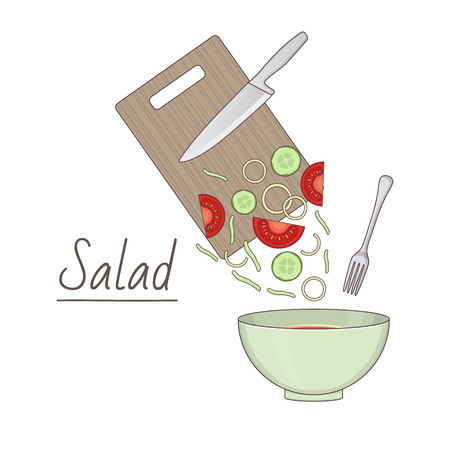 Vector illustration of ingredients for salad preparing on white background. Healthy food and lifestyle topic