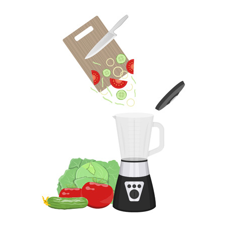 Vector illustration of vegetables chopping by mixer on white background. Healthy food preparing topic.