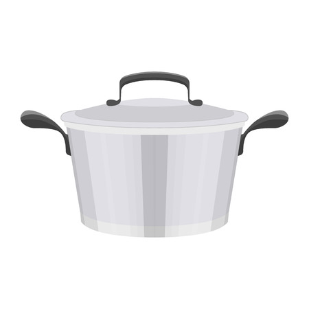 Vector illustration of such kitchenware and utensil as a stew pan on white background. Kitchen and food preparing topic.
