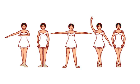 Vector illustrations set of ballet movements on white background. Gymnastics and healthy lifestyle topic.
