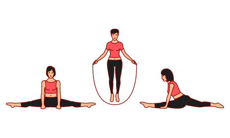 Vector illustrations set of gymnastic positions on white background. Gymnastics and healthy lifestyle topic. Illustration