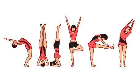 Vector illustrations set of gymnastic positions on white background. Gymnastics and healthy lifestyle topic. Ilustração