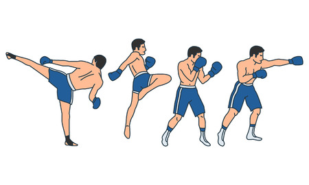 Vector illustrations set of mixed fighting positions on white background. Gymnastics and healthy lifestyle topic.
