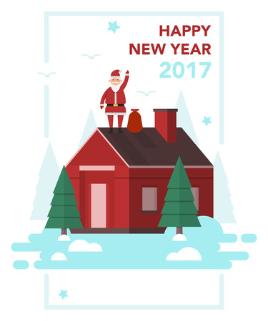 Santa Claus that is staying on house roof with gifts bag and is going to leave gifts for good children.