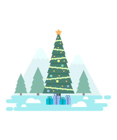 New Year greeting with decorated Christmas tree in the forest vector illustration. New Year and Christmas celebration topic.